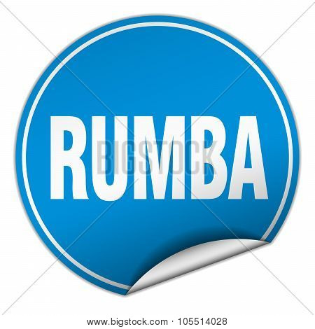 Rumba Round Blue Sticker Isolated On White