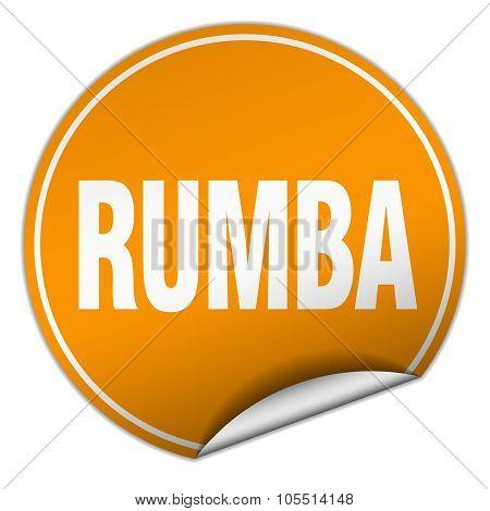 Rumba Round Orange Sticker Isolated On White