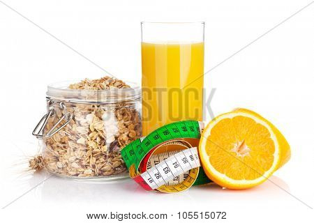 Healty breakfast with muesli, berries and orange juice. Isolated on white background
