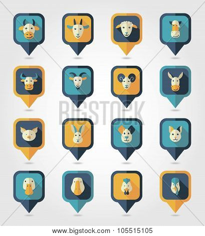 Farm animals mapping pins icons