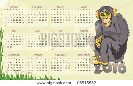 Calendar 2016 Year Of The Monkey