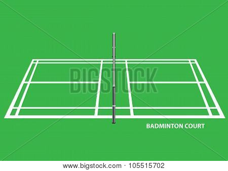 Badminton Court Side View Vector Illustration