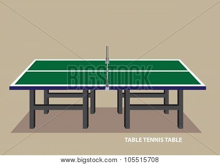 Table Tennis Table Side View Vector Illustration