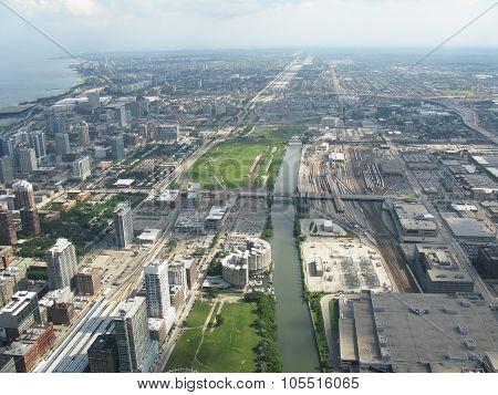 Urban landscape architectural aerial view