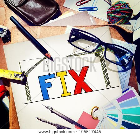 Fix Mechanical Repair Solution Technician Maintenance Concept