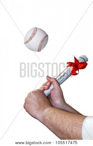 Baseball diploma on white background