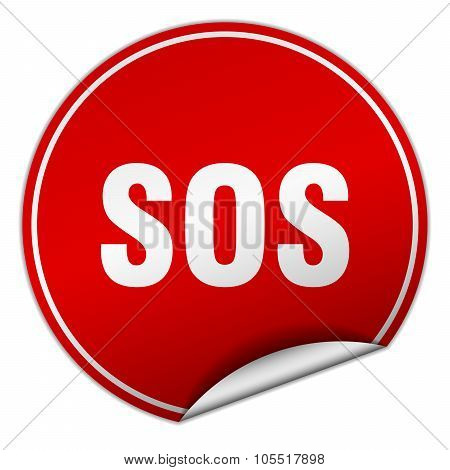 Sos Round Red Sticker Isolated On White
