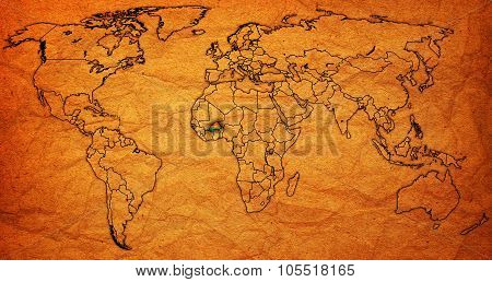 Burkina Faso Territory On Actual World Map
