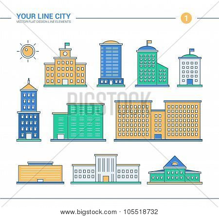 Set of line flat design administrative buildings icons. Skyscrapers, government