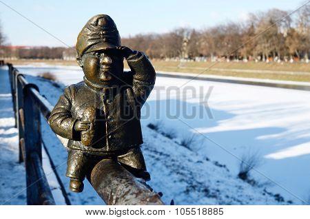 Small bronze statue of literary personage Good Soldier Svejks,Uzhgorod,Ukraine