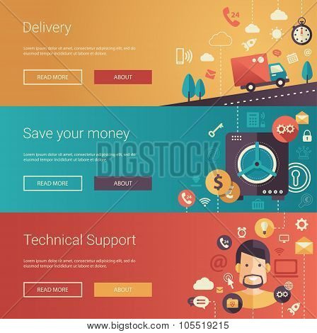 Set of modern flat design business banners, headers with icons and infographics elements. Delivery,