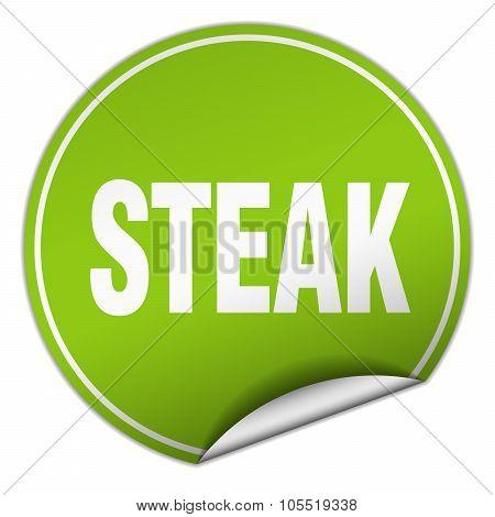 Steak Round Green Sticker Isolated On White