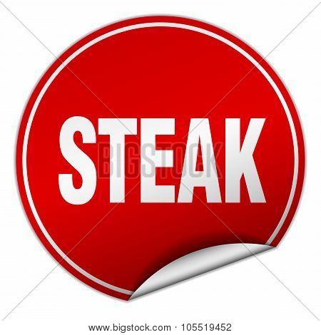 Steak Round Red Sticker Isolated On White