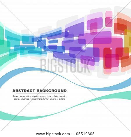 Colorful Rounded corners and line wave abstract background