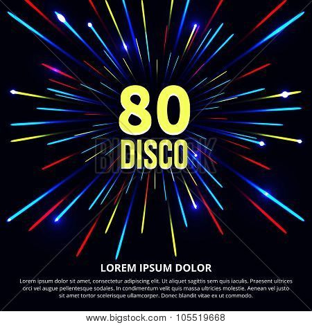Fireworks abstract vector background. Retro 80s disco poster