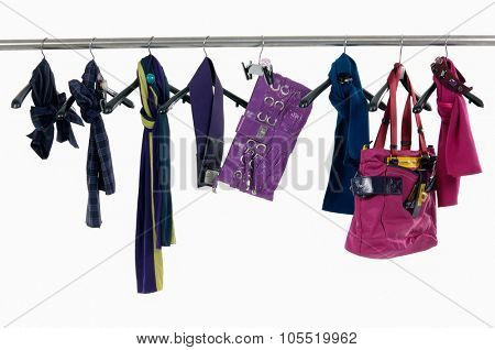 Set of different bag ,scarf ,belt for females on hangers