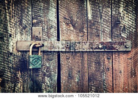 Locked Wooden Doors Close Up