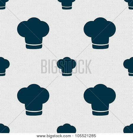 Chef Hat Sign Icon. Cooking Symbol. Cooks Hat. Seamless Abstract Background With Geometric Shapes.