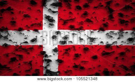 Flag of Denmark, Danish Flag painted with bullet holes