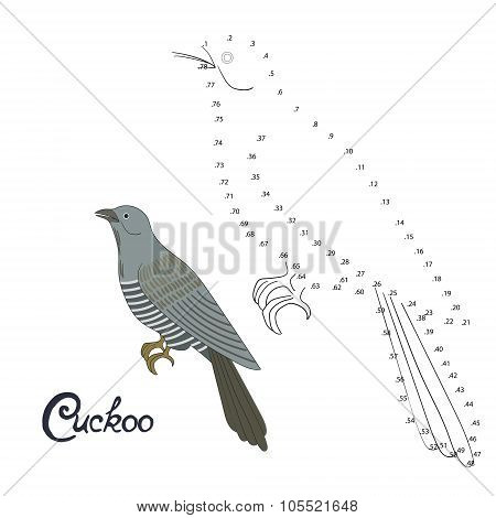 Educational game connect dots to draw cuckoo bird