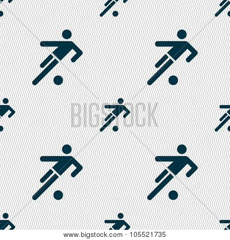 Football Player Icon. Seamless Abstract Background With Geometric Shapes.