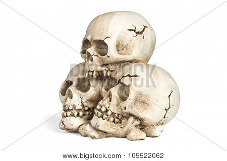 Cast of a weathered human skull isolated over white with clipping path.