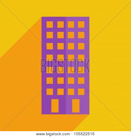 Flat icons modern design with shadow of building