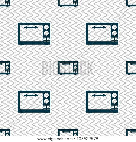 Microwave Oven Sign Icon. Kitchen Electric Stove Symbol. Seamless Abstract Background With