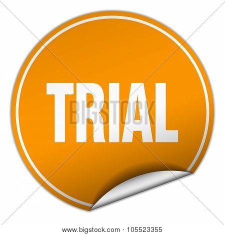 Trial Round Orange Sticker Isolated On White