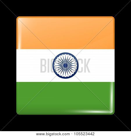 Flag Of India. Glassy Icon Square Shape