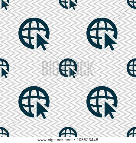 Internet Sign Icon. World Wide Web Symbol. Cursor Pointer. Seamless Abstract Background With