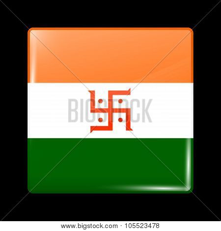 India Jain Variant Flag. Glassy Icon Square Shape