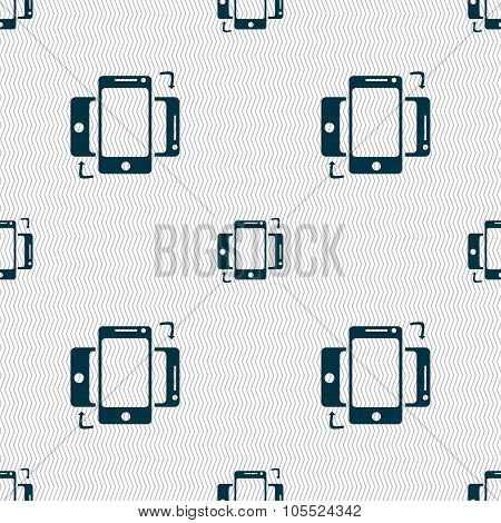 Synchronization Sign Icon. Smartphones Sync Symbol. Data Exchange. Seamless Abstract Background