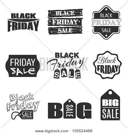 Black friday typographic design. Vector sale label and badge set