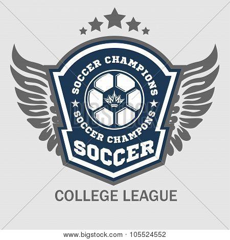 Vector Soccer Badge - emblem on light background.