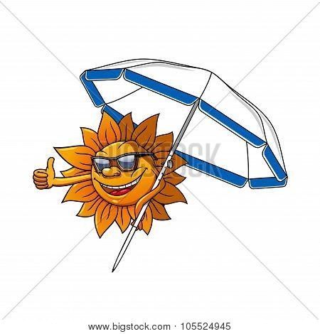 Cartoon sun character with umbrella