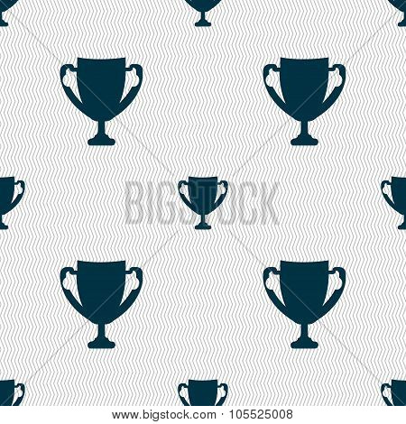 Winner Cup Sign Icon. Awarding Of Winners Symbol. Trophy. Seamless Abstract Background