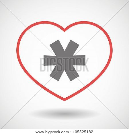Line Heart Icon With An Asterisk