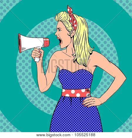 Girl with megaphone  or loudspeaker in pop-art style. Vintage vector illustration