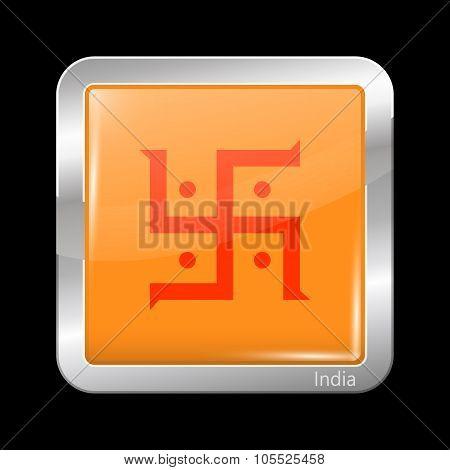 India Jain Variant Flag. Metallic Icon Square Shape
