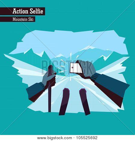 Vector Flat Illustration Of A Dangerous Action Selfie.