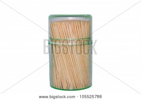 Toothpicks on isolated white background