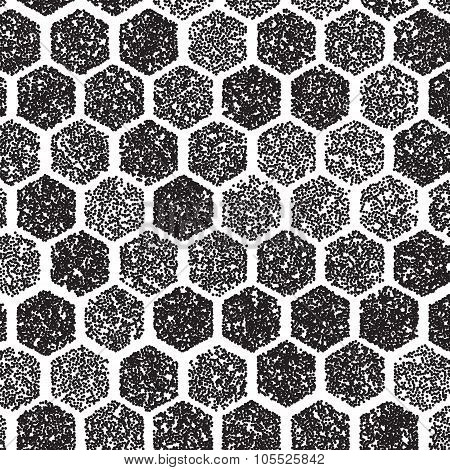 Dotwork Hexagon Vector Pattern. halftone Hexagon Tattoo Style Pa