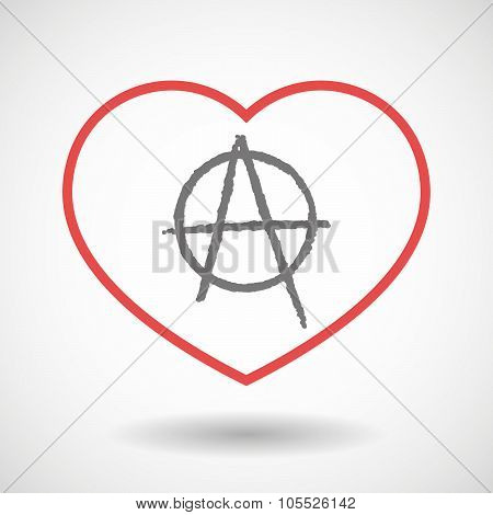 Line Heart Icon With An Anarchy Sign