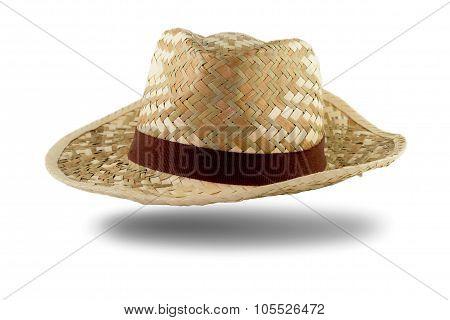 Pretty straw hat with ribbon white background