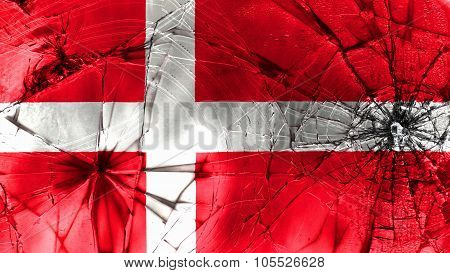 Flag of Denmark, Danish Flag painted on broken glass texture