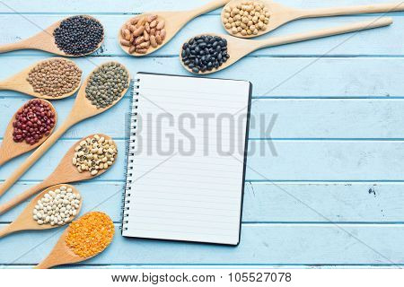 the blank cookbook and various legumes