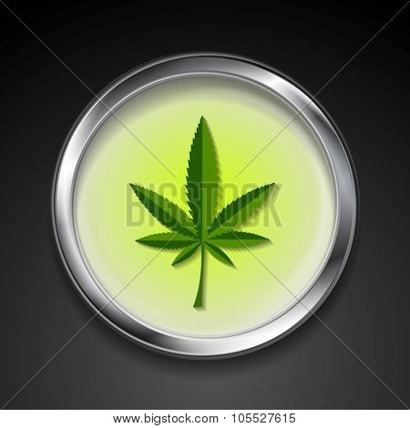 Cannabis icon on metal button. Vector design