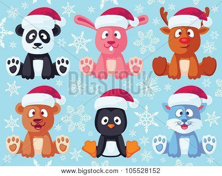 Christmas Cute Flat Animals Set