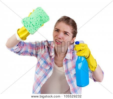 housewife in gloves with sponge and detergent.